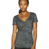 Ladies' Poly/Cotton Burnout Deep V