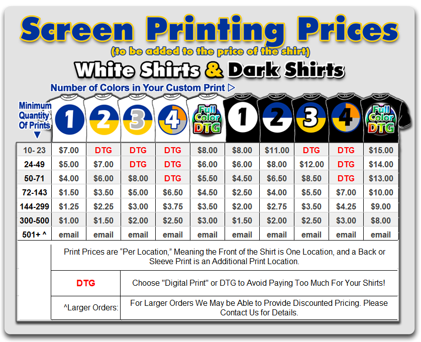 Instashirt Price Lists Fast Full Color T Shirts And