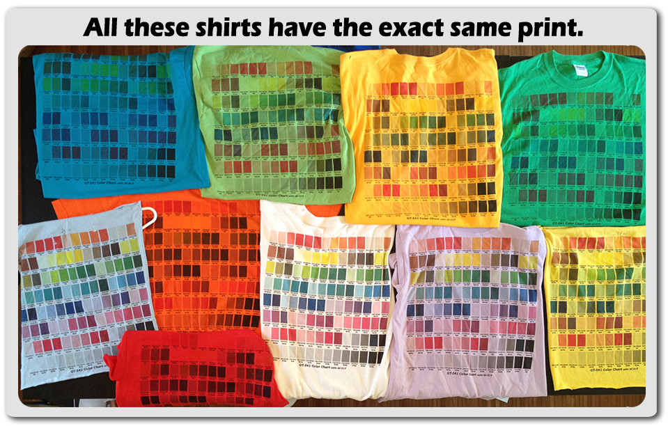 Assorted shirt colors with the same exact pirnt